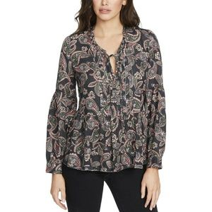 William Rast floral paisley beaded raw hem top